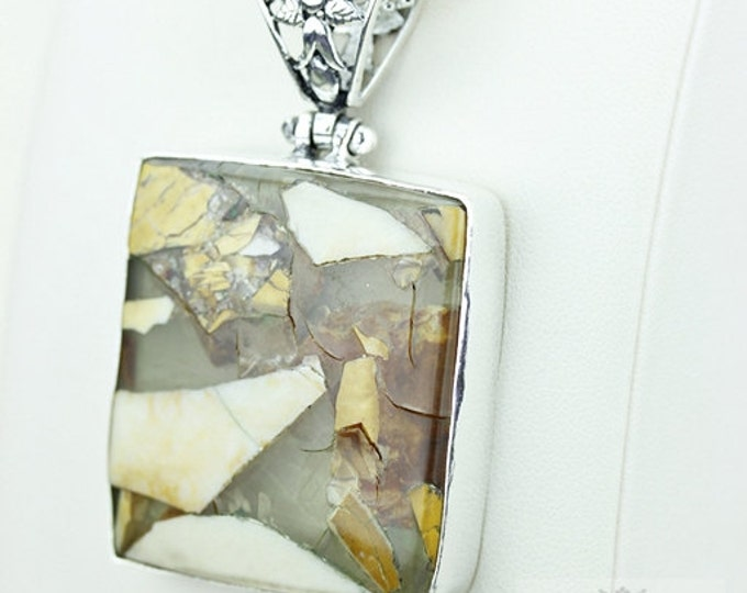 Fabulous BRECCIATED MOOKAITE 925 S0LID Sterling Silver Pendant + 4MM Snake Chain & Free Worldwide Shipping P3659