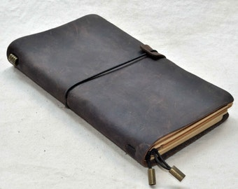 Personalized refillable leather journal notebook Handmade Vintage book  (free stamp)
