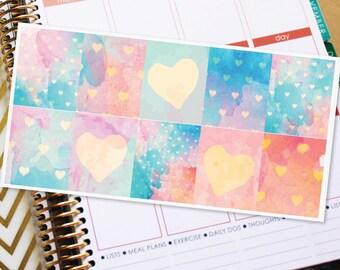 Full Box Planner Stickers Erin Condren Life Planner (ECLP) - 10 Watercolor Heart Stickers (#4012)