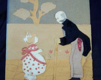 Vintage child's artwork OOAK/Folk artwork from 1931/Child's nursery artwork
