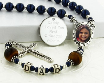 Father of Bride Gift, Wedding Rosary, Personalized Rosary, Mens Rosary, Rosary, Father Rosary, Photo Gift Father, Photo Rosary, PTDadDBTG