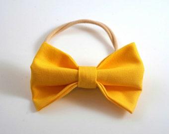 Yellow Bow Headband. Yellow Baby Headband. Yellow Baby Bow. Toddler Headband. Newborn Headband. Newborn Photo Prop. Toddler Hair Bow.