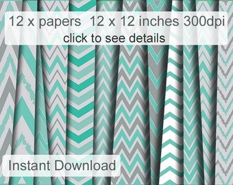 Mint printable cardstock  Chevron Scrapbooking paper pack  digital backgrounds for personal or commercial use paper instant download