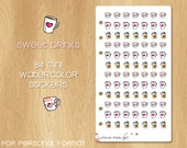 84 Mini Watercolor Stickers perfectly Fitting Personal Filofax and Medium Kikki.k - Sweet Coffe Drinks with Pink Mugs