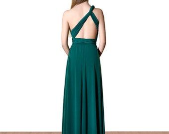 Dark green Dress Long Infinity Convertible Multiway Dress Night Dress Wrap Dress Feminine Elegant Vers