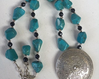Turquoise, Black Onyx and Sterling Silver Necklace with Hill Tribe Fine Siver Pendant