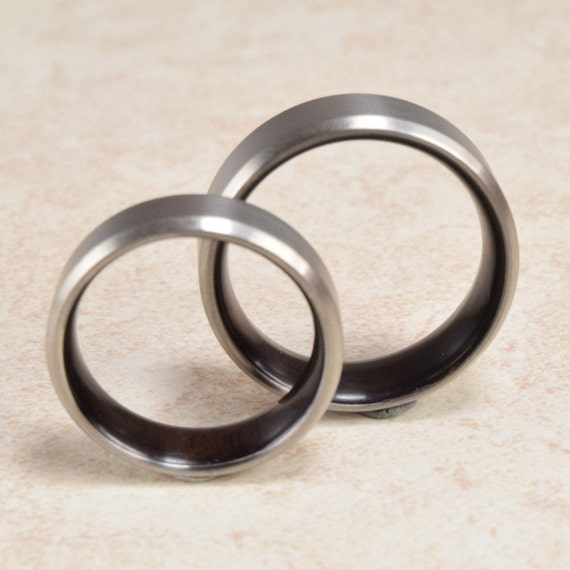 titanium asian lined ring by foreverwoodrings