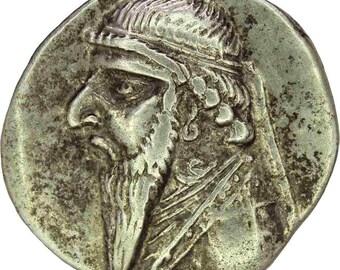 121-91 BC Parthian Kingdom. Mithradates II Silver Drachm Coin