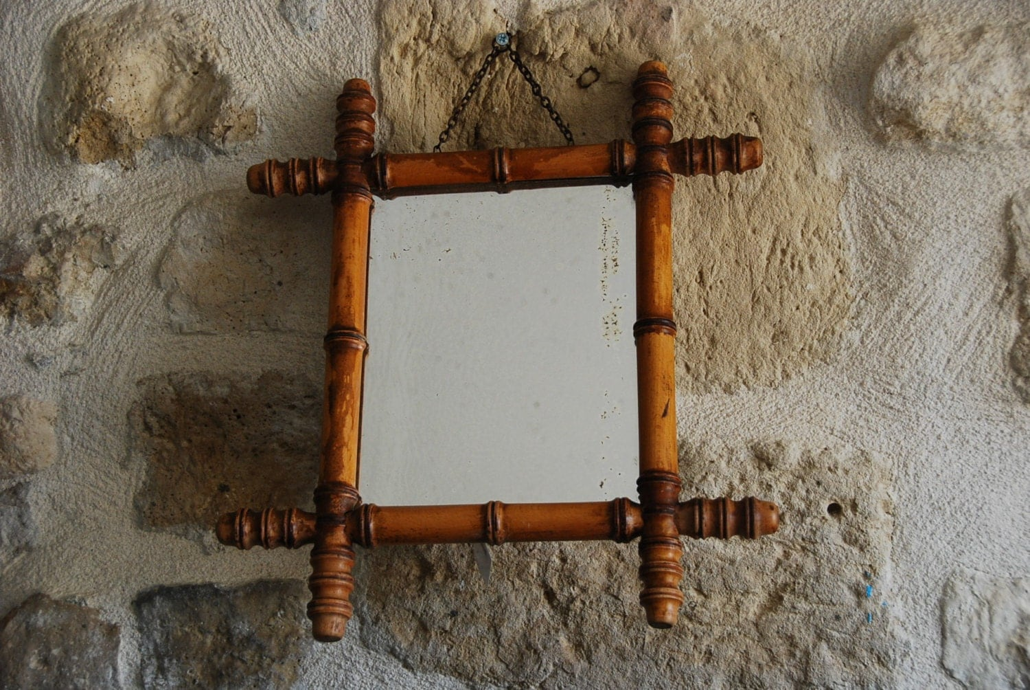 Vintage French faux bamboo mirror with frame. Small size with