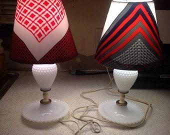 Vintage 1960s Hobnail Milkglass Table Lamp Set