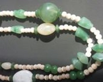 Green and White Jade Neckless.