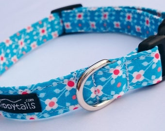 Sky Blue Summer Cute Floral, White & Red Flowers Designer Dog Collar