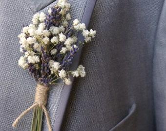 Lavender Twist Baby's Breath Buttonhole