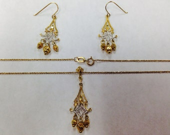 10K Gold Earring & Necklace Set