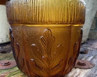 vintage Brown Glass Vase 1974 FTD Brown Oak Leaf Design 5x5