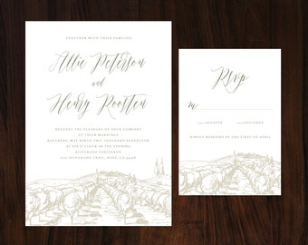 Rustic Tuscan Wedding Invitation, Vineyard Wedding, Winery Wedding Invitation, Romantic Wedding Invitation
