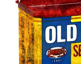 Old Bay Seasoning Distressed Watercolor {8x10 Art Print}