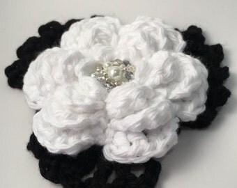 Beaded White Crochet Rose Brooch / Pin