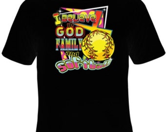 God, Family, Softball shirt