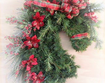 Horse head wreath. Artificial Horse Christmas wreath for barn or home. Makes a great gift! Handcrafted and Unique! Coupon code: Blackfriday