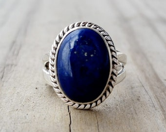 Lapis Ring - Blue Lapis Lazuli Ring -  Lapis Jewelry - Silver Ring - Gemstone Ring - Blue Stone Ring - Nepalese Tibetan Jewelry