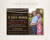 Engagement Party Photo Invitation:I Do BBQ in Dark Wood, Light Yellow & Pink or Custom Colors- Printable PDF