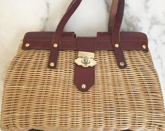 1960s Vintage Wicker Handbag