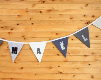 Garland fabric pennants, custom applied, colors of your choice, Festival decoration, child's room, photo shoot.