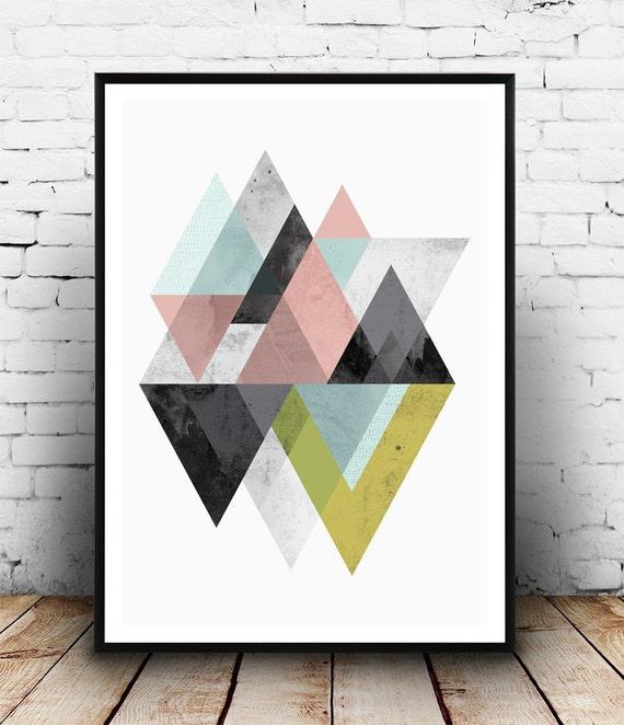 Minimalist print geometric wall art mid century modern for Modern minimalist wall art