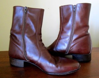 Vintage Italian Leather Mens Ankle Boots from James Banister Inside Zipper Size 9 Brown