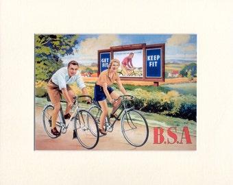 Vintage Cyclists, BSA Bikes, Mounted Print