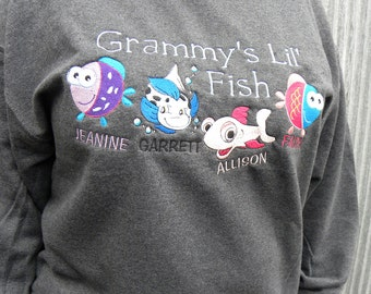 Grandpa's Lil' Keepers - Personalized Embroidered Crewneck Sweatshirt