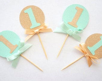 Set of 12 mint green and rose gold glitter cupcake toppers- personalised- custom- first birthday- baby shower- age- 1st birthday