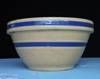 Antique Bowl - Blue White Stripes - Yellow Ware (?) Banded Primitive Dough Mixing Bowl Unmarked