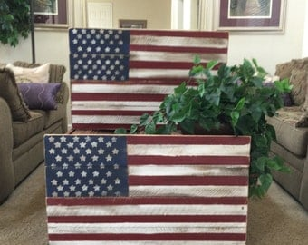 Rustic Distressed Wood Flag, Fourth Of July, July 4th Americana, Distressed Wood Sign, American Flag, Stars and Stripes Home