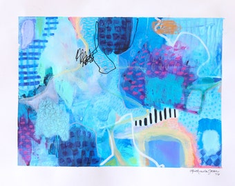 original mixed media abstract painting on paper
