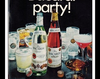 "Vintage Print Ad August 1969 : Bacardi Rum ""Mini-Party!"" Advertisement Wall Art Decor Color 8.5"" x 11"""