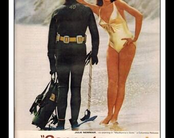 "Vintage Print Ad June 1968 : Coppertone Julie Newmar Bikini ""Coppertone gives you a better tan!""  Wall Art Decor 8.5"" x 11"" Advertisement"