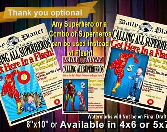 Super Hero INVITATION,Superhero birthday invitation, Marvel Birthday Party,Avengers,Newspaper printable Invitation
