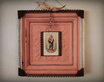 Rustic Wall Art with Antique Holy Card Virgin Mary and Jesus and Vintage Crucifix on Antique Ceiling Tile