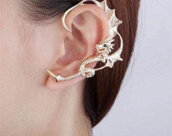 Dragon Ear Cuff, Gold / Silver/ Rose Gold Ear Climbers, Earring Cuff - Piercing Needed - Left Ear