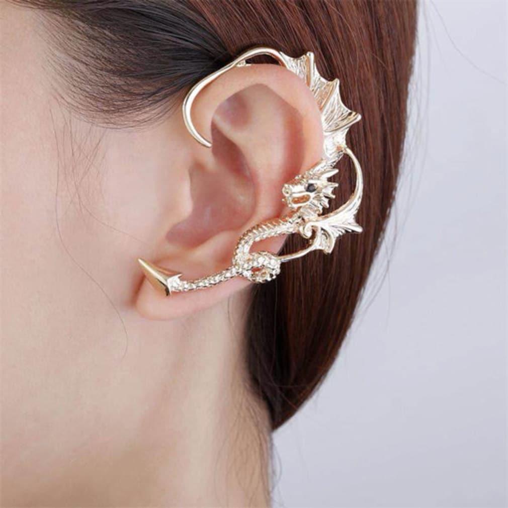 Dragon Ear Cuff Gold Silver Rose Climbers Wild Wyvern Earrings