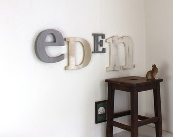 Large name Eden gray, white, taupe - mylittledecor - letters - name-giant name personalized - newborn - teen decor