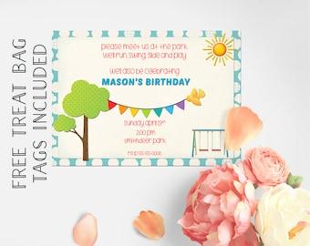 Park Birthday Invitation, Kids Invitation, Park Invitation, Playground Invitation Printable Invitation, 1st Birthday, 2nd Birthday