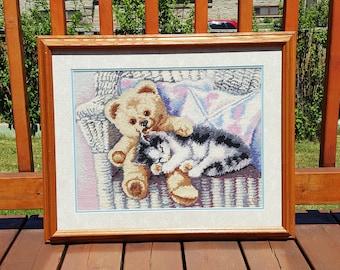 FRAMED EMBROIDERY , hand embroidery, embroidery art, cross stitch embroidery, vintage embroidery,nursery  decor, bedroom decor, vintage