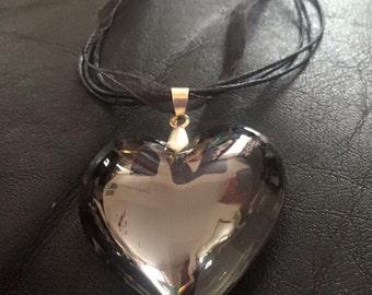 Murano glass heart pendant on black organza ribbon necklace