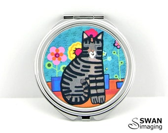 Cat Compact Mirror ~ Funky Cat Design #2 ~ Round Compact