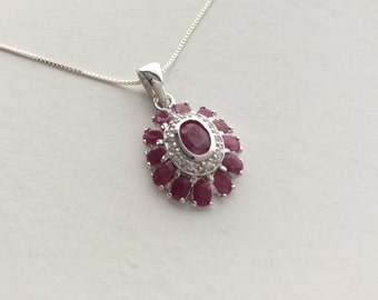 Natural Gemstone - Genuine Ruby Sterling Silver Pendant Necklace