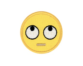 Face With Rolling Eyes Emoji Embroidered Iron On Patch - FREE SHIPPING