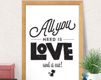 Typography Minimalist Print, Minimalist Wall Art, Modern Wall Print, Pet Print, Cat Wall art, Quote Print, Modern Art Print, Black and White